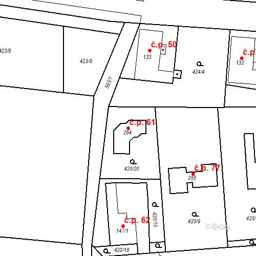 Katastrální mapa Stavební objekt Staré Jesenčany 61, Staré Jesenčany