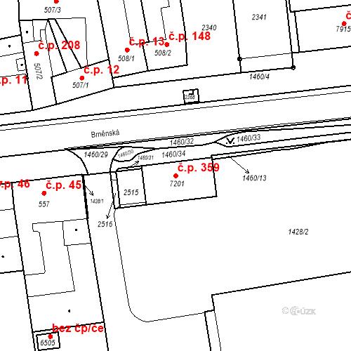 Katastrální mapa Stavební objekt Nové Město 359, Třebíč