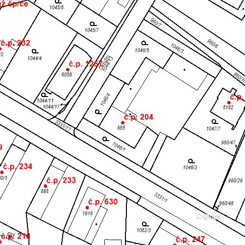 Katastrální mapa Stavební objekt Chrudim IV 204, Chrudim