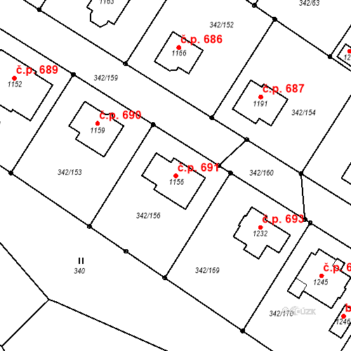 Katastrální mapa Stavební objekt Ždírec nad Doubravou 691, Ždírec nad Doubravou