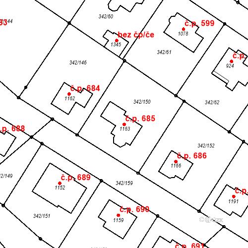 Katastrální mapa Stavební objekt Ždírec nad Doubravou 685, Ždírec nad Doubravou