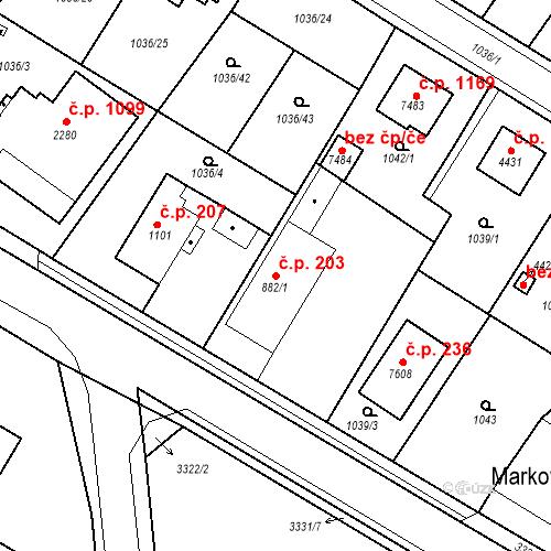 Katastrální mapa Stavební objekt Chrudim IV 203, Chrudim