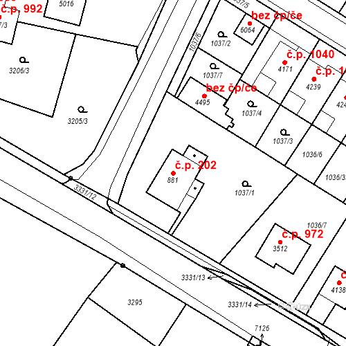 Katastrální mapa Stavební objekt Chrudim IV 202, Chrudim
