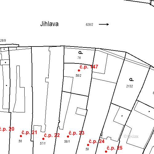 Katastrální mapa Stavební objekt Vnitřní Město 147, Třebíč