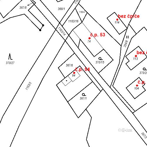 Katastrální mapa Stavební objekt České Lhotice 54, České Lhotice