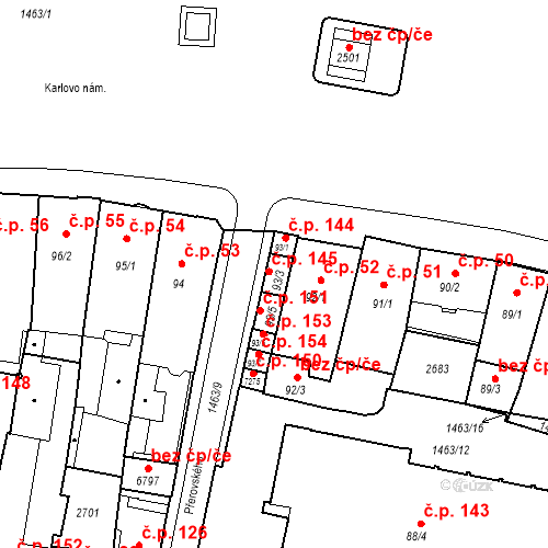 Katastrální mapa Stavební objekt Vnitřní Město 145, Třebíč