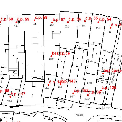 Katastrální mapa Stavební objekt Vnitřní Město 148, Třebíč