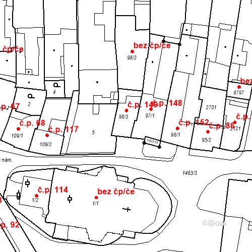 Katastrální mapa Stavební objekt Vnitřní Město 149, Třebíč