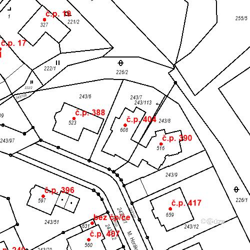 Katastrální mapa Stavební objekt Týn 404, Třebíč