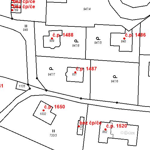 Katastrální mapa Stavební objekt Vrchlabí 1487, Vrchlabí