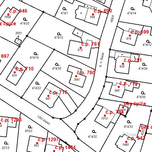 Katastrální mapa Stavební objekt Vrchlabí 760, Vrchlabí