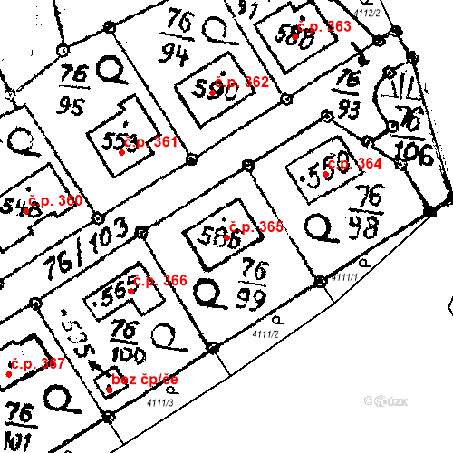 Katastrální mapa Stavební objekt Havlíčkova Borová 365, Havlíčkova Borová