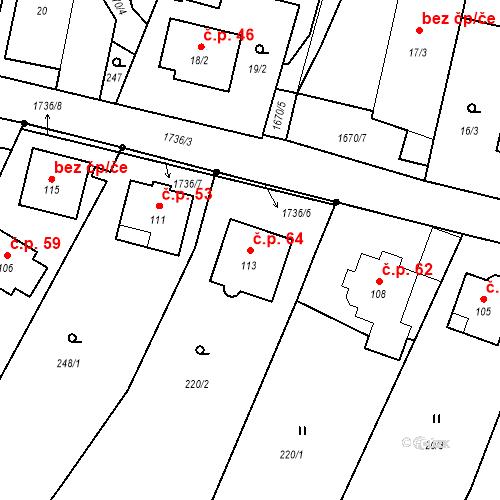 Katastrální mapa Stavební objekt Okřešice 64, Okřešice