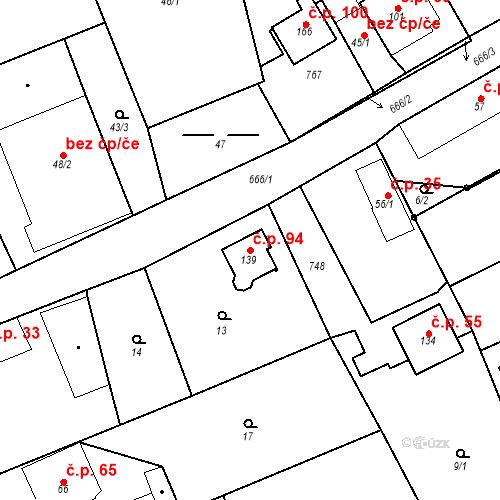 Katastrální mapa Stavební objekt Lubno 94, Nechanice
