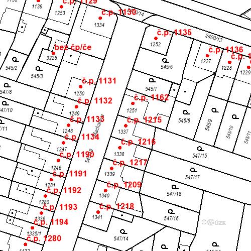 Katastrální mapa Stavební objekt Hořice 1215, Hořice