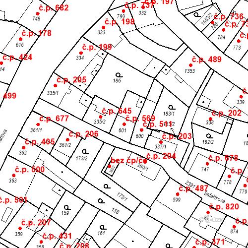 Katastrální mapa Stavební objekt Hořice 569, Hořice