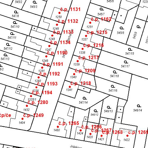 Katastrální mapa Stavební objekt Hořice 1209, Hořice