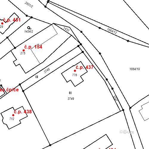 Katastrální mapa Stavební objekt Horní Branná 437, Horní Branná