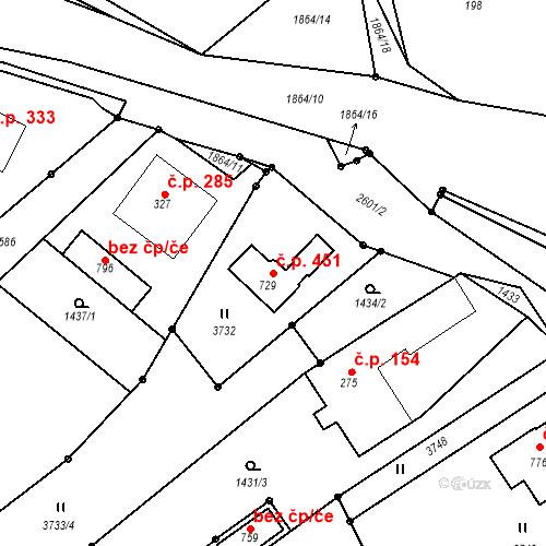 Katastrální mapa Stavební objekt Horní Branná 451, Horní Branná