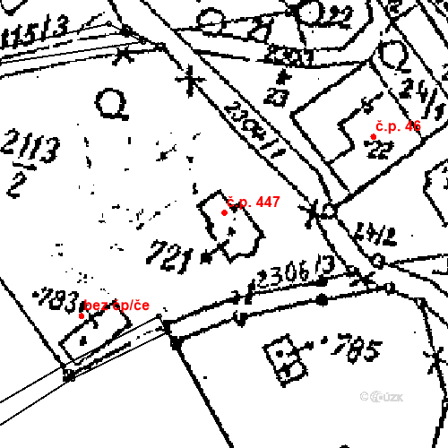 Katastrální mapa Stavební objekt Horní Branná 447, Horní Branná