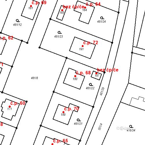 Katastrální mapa Stavební objekt Homyle 68, Boharyně