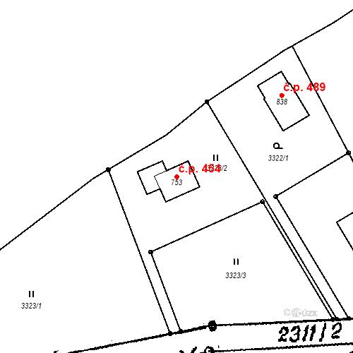 Katastrální mapa Stavební objekt Horní Branná 454, Horní Branná