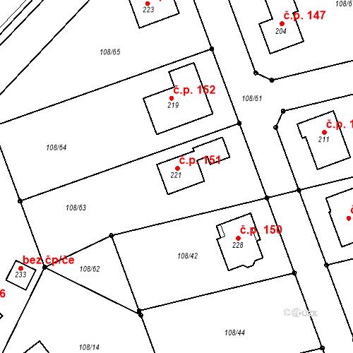 Katastrální mapa Stavební objekt Zhoř 151, Zhoř