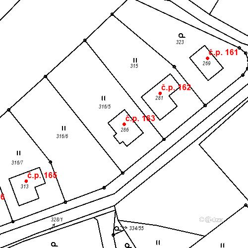 Katastrální mapa Stavební objekt Bojanov 163, Bojanov