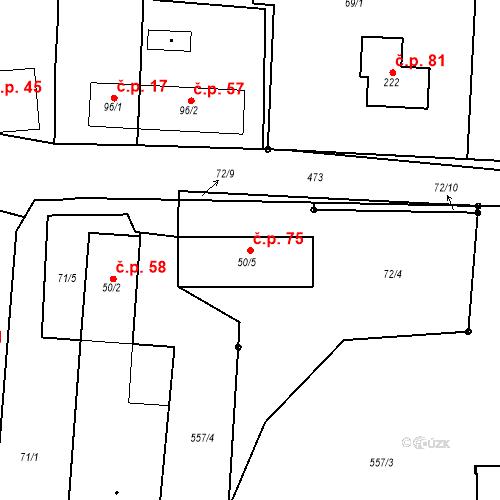 Katastrální mapa Stavební objekt Boharyně 75, Boharyně