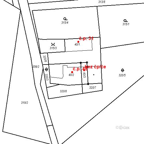 Katastrální mapa Stavební objekt Dolní Sokolovec 45, Dolní Sokolovec