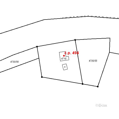 Katastrální mapa Stavební objekt Chotěboř 494, Chotěboř