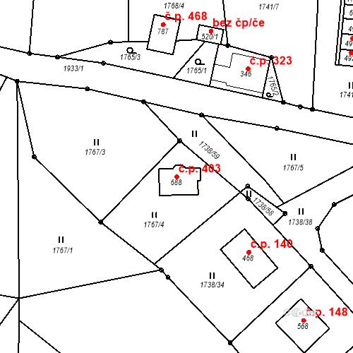 Katastrální mapa Stavební objekt Studenec 403, Studenec