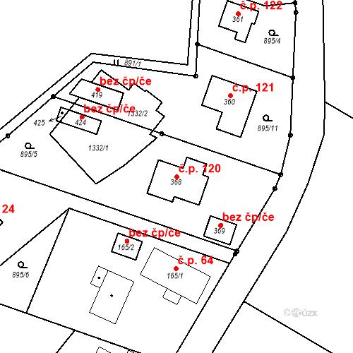 Katastrální mapa Stavební objekt Holovousy 120, Holovousy