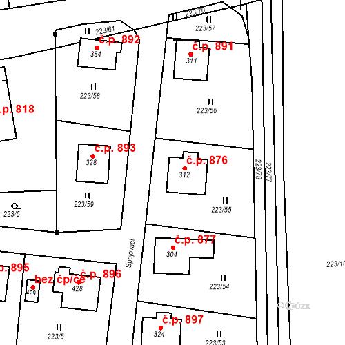 Katastrální mapa Stavební objekt Hrabačov 876, Jilemnice
