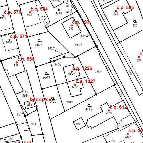 Katastrální mapa Stavební objekt Jilemnice 1226, Jilemnice