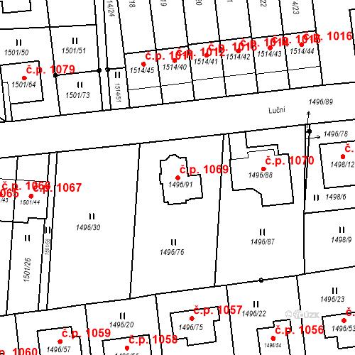 Katastrální mapa Stavební objekt Jilemnice 1069, Jilemnice