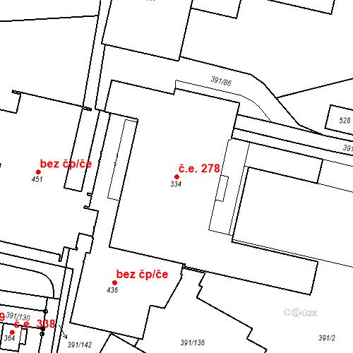 Katastrální mapa Stavební objekt Ústupky 278, Seč