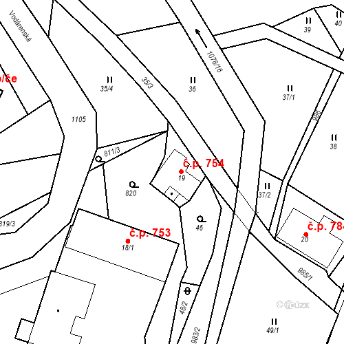 Katastrální mapa Stavební objekt Hrabačov 754, Jilemnice