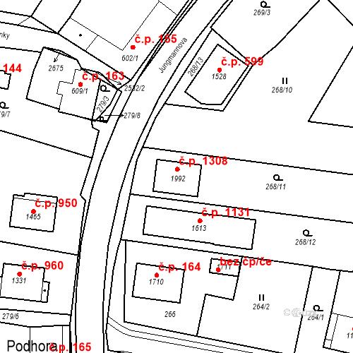 Katastrální mapa Stavební objekt Polná 1308, Polná