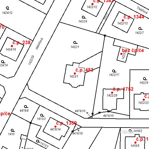 Katastrální mapa Stavební objekt Chotěboř 483, Chotěboř
