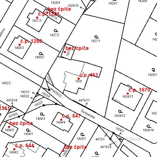 Katastrální mapa Stavební objekt Chotěboř 461, Chotěboř