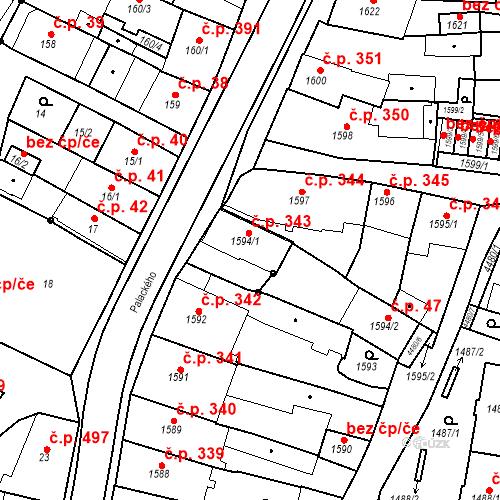 Katastrální mapa Stavební objekt Chotěboř 343, Chotěboř