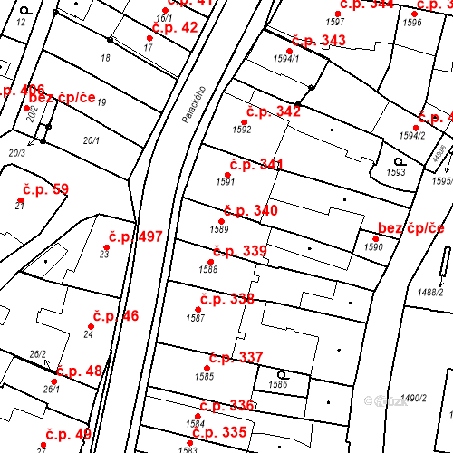 Katastrální mapa Stavební objekt Chotěboř 340, Chotěboř