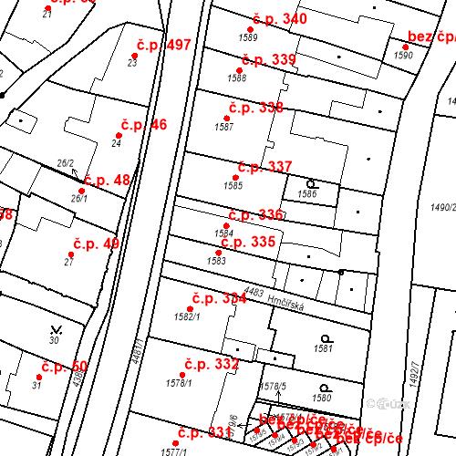 Katastrální mapa Stavební objekt Chotěboř 336, Chotěboř