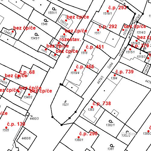 Katastrální mapa Stavební objekt Chotěboř 466, Chotěboř