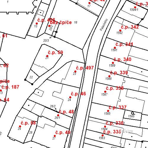Katastrální mapa Stavební objekt Chotěboř 497, Chotěboř