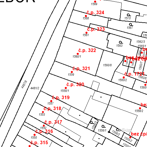 Katastrální mapa Stavební objekt Chotěboř 321, Chotěboř