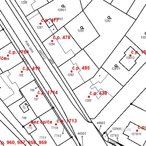 Katastrální mapa Stavební objekt Chotěboř 485, Chotěboř