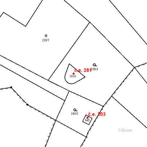 Katastrální mapa Stavební objekt Vranov nad Dyjí 281, Vranov nad Dyjí