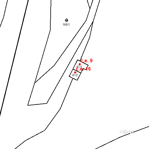 Katastrální mapa Stavební objekt Přímělkov 16, Brtnice